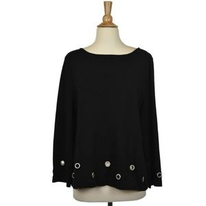 Joan Vass Black Blouse With Silver Circle Cut Outs